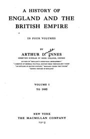 Cover of: history of England and the British Empire ... | Arthur D. Innes