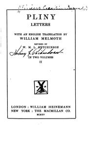 Cover of: Letters: With an English translation by William Melmoth, rev. by W.M.L. Hutchinson.