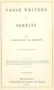 Prose writers of Germany by Hedge, Frederic Henry