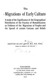 Cover of: The migrations of early culture | Grafton Elliot Smith