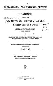 Cover of: Preparedness for national defense | United States. Congress. Senate. Committee on Military Affairs.