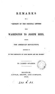 "Cover of: Remarks on a ""Reprint of the original letters from Washington to Joseph Reed 