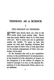 Cover of: Thinking as a science
