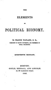 Cover of: The elements of political economy