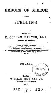 Cover of: Errors of speech and of spelling