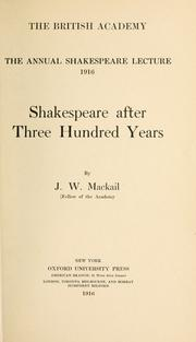 Cover of: Shakespeare after three hundred years