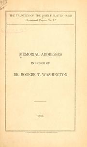 Cover of: Memorial addresses in honor of Dr. Booker T. Washington. |