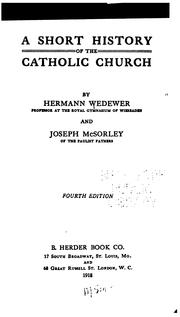 Cover of: A short history of the Catholic church by Wedewer, Hermann