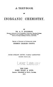 A text-book of inorganic chemistry by Holleman, Arnold Frederik