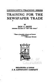Cover of: Training for the newspaper trade | Don Carlos Seitz