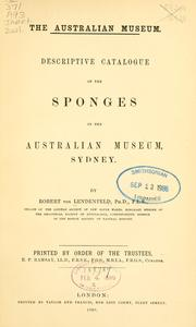 Cover of: Descriptive catalogue of the sponges in the Australian Museum, Sydney