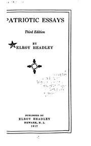 Patriotic essays by Elroy Headley