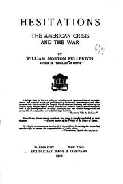 Cover of: Hesitations, the American crisis and the war
