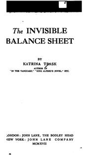 Cover of: The Invisible Balance Sheet