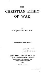 Cover of: The Christian ethic of war