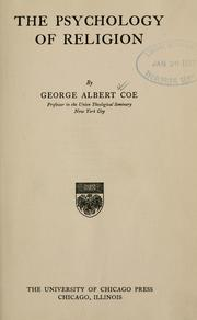 Cover of: psychology of religion | George Albert Coe