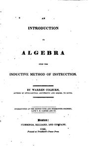 Cover of: An introduction to algebra upon the inductive method of instruction