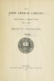 Cover of: Officers, committees, by-laws and record of organization