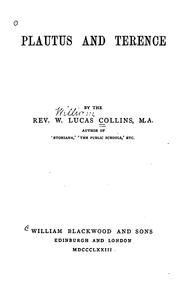 Cover of: Plautus and Terence | W. Lucas Collins
