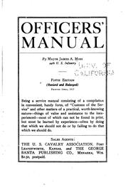 Officers' manual by Moss, James Alfred