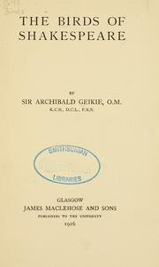 The birds of Shakespeare by Archibald Geikie