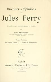 Cover of: Discours et opinions de Jules Ferry by Jules Ferry