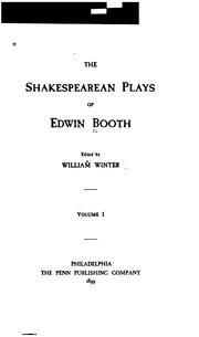 Cover of: Plays of Edwin Booth