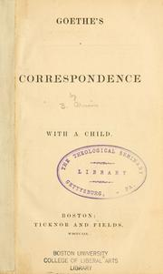 Cover of: Goethe's correspondence with a child