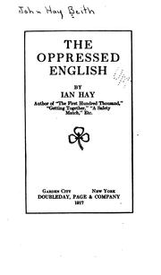 Cover of: The oppressed English