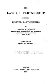 The law of partnership, including limited partnerships by Francis M. Burdick