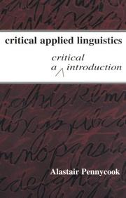 Cover of: Critical applied linguistics: a critical introduction