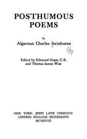 Cover of: Posthumous poems