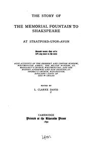 The story of the memorial fountain to Shakespeare at Stratford-upon-Avon .. by Lucius Clarke Davis
