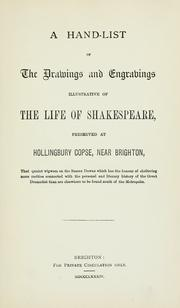 Cover of: hand-list of the drawings and engravings illustrative of the life of Shakespeare | James Orchard Halliwell-Phillipps