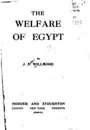 Cover of: The welfare of Egypt