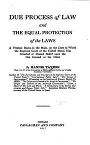 Cover of: Due process of law and the equal protection of the laws
