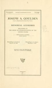 Cover of: Joseph A. Goulden (late a representative from New York) |
