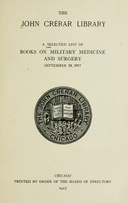Cover of: A selected list of books on military medicine and surgery