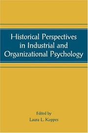 Cover of: Historical Perspectives in Industrial and Organizational Psychology (Applied Psychology Series) (Series in Applied Psychology)