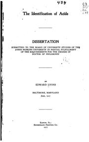 Cover of: The identification of acids ..