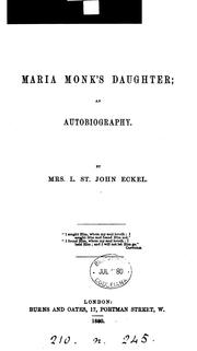 Maria Monk's daughter by Harper, L. St. John Eckel