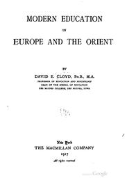 Cover of: Modern education in Europe and the Orient | Cloyd, David Excelmons.