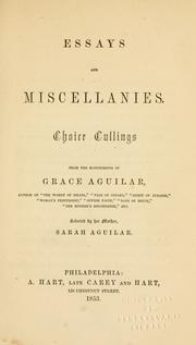 Cover of: Essays and miscellanies