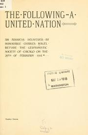 Cover of: The following-a united nation | Nagel, Charles
