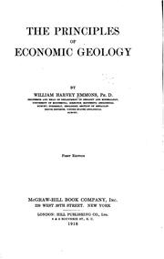 The principles of economic geology by William H. Emmons