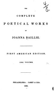 Cover of: The complete poetical works of Joanna Baillie