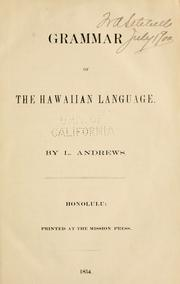 Cover of: Grammar of the Hawaiian language