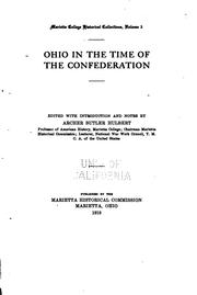 Cover of: Ohio in the time of the Confederation