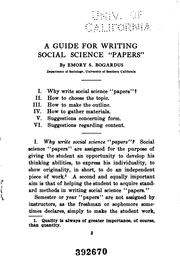 "Cover of: A guide for writing social science ""papers"""