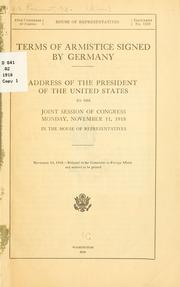 Cover of: Terms of armistice signed by Germany. | United States. President (1913-1921 : Wilson)